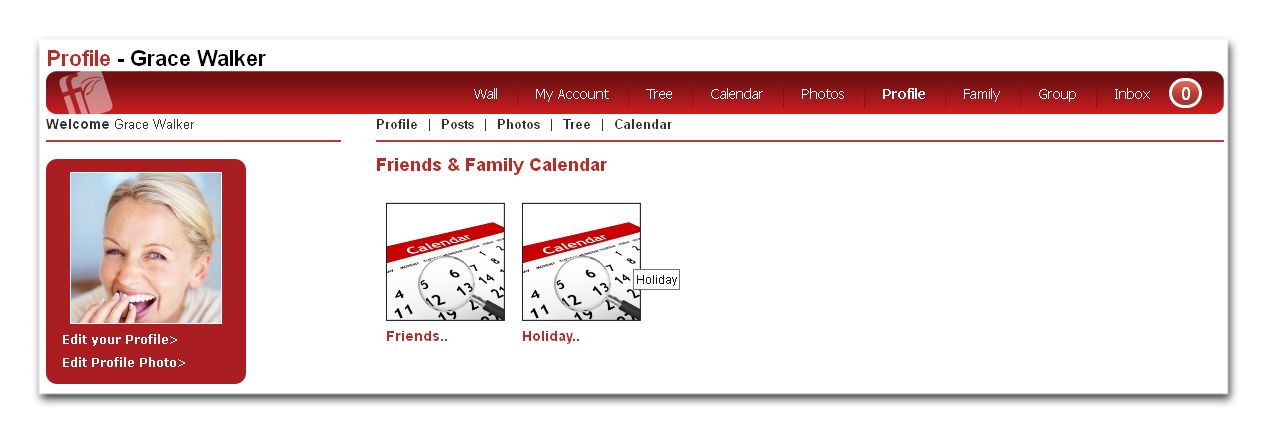 Shared Calendar appear in your profile only to those with permission